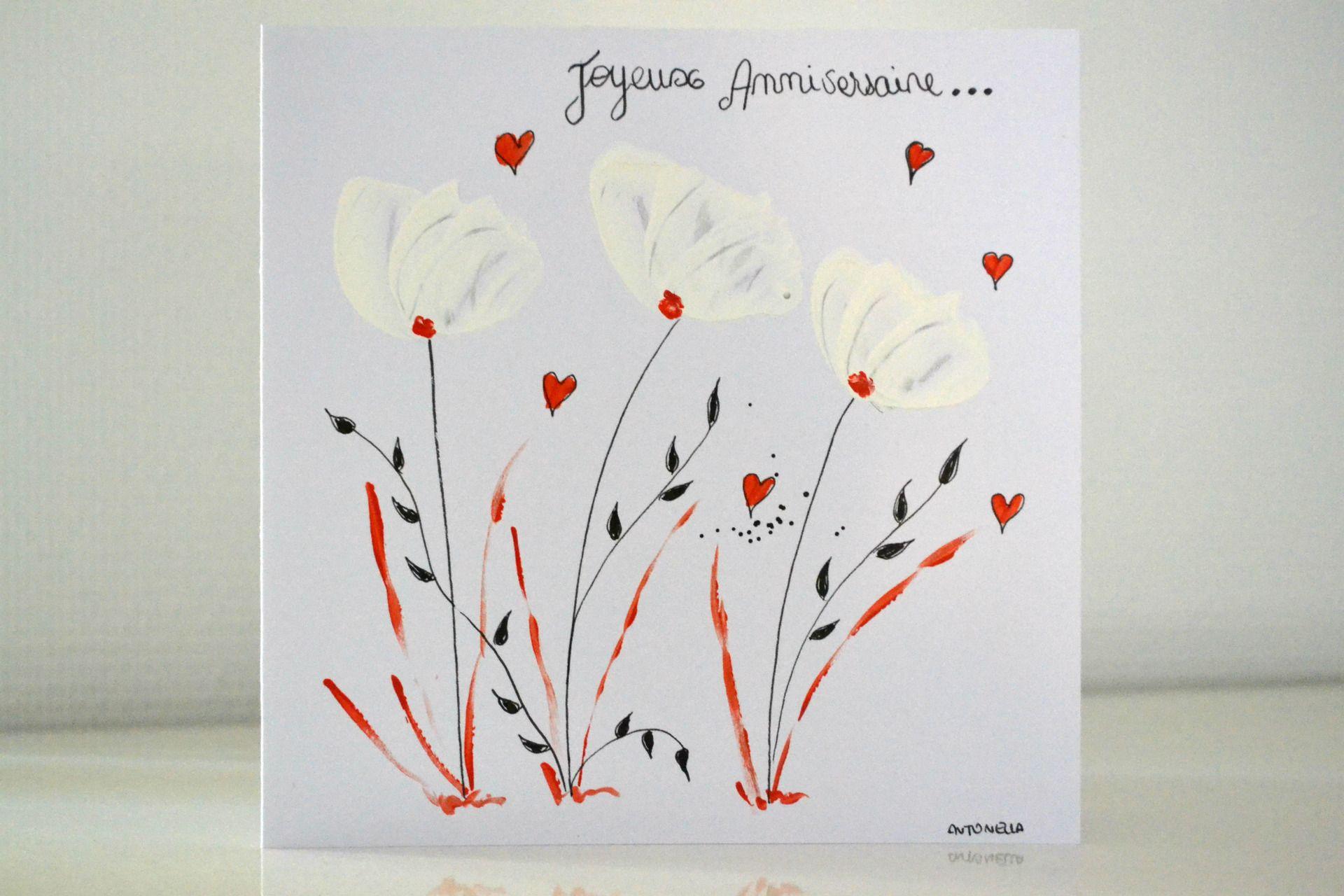 Sehr carte anniversaire femme, carte d'art peinte à la main, carte  QG99