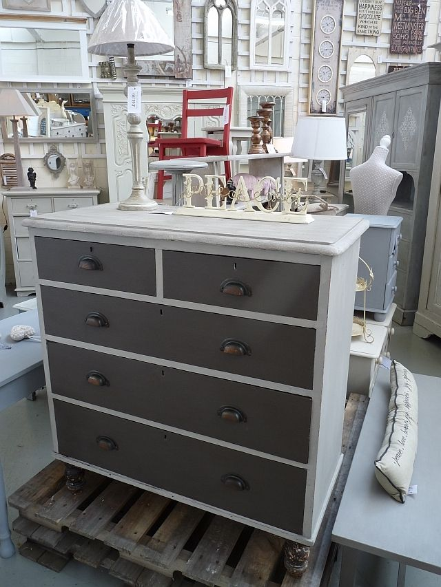 Hand Painted Chest of Drawers in Dark Chocolate and Reindeer Autentico Paint with drawer cup pulls