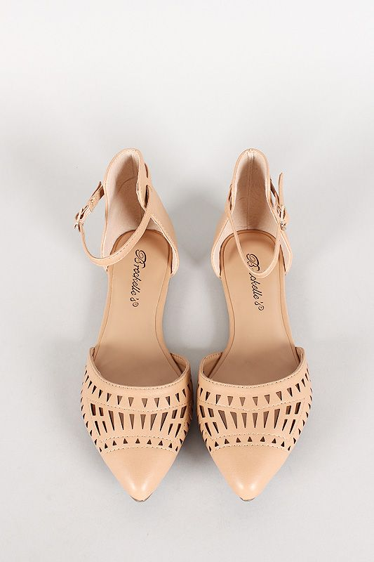 Love the details - ankle strap and cutouts!  Yes, please!  Breckelle Perforated Pointy Toe Flat