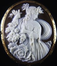 XXLarge Museum Quality Victorian Gold Cameo Brooch of Goddess Flora High Relief