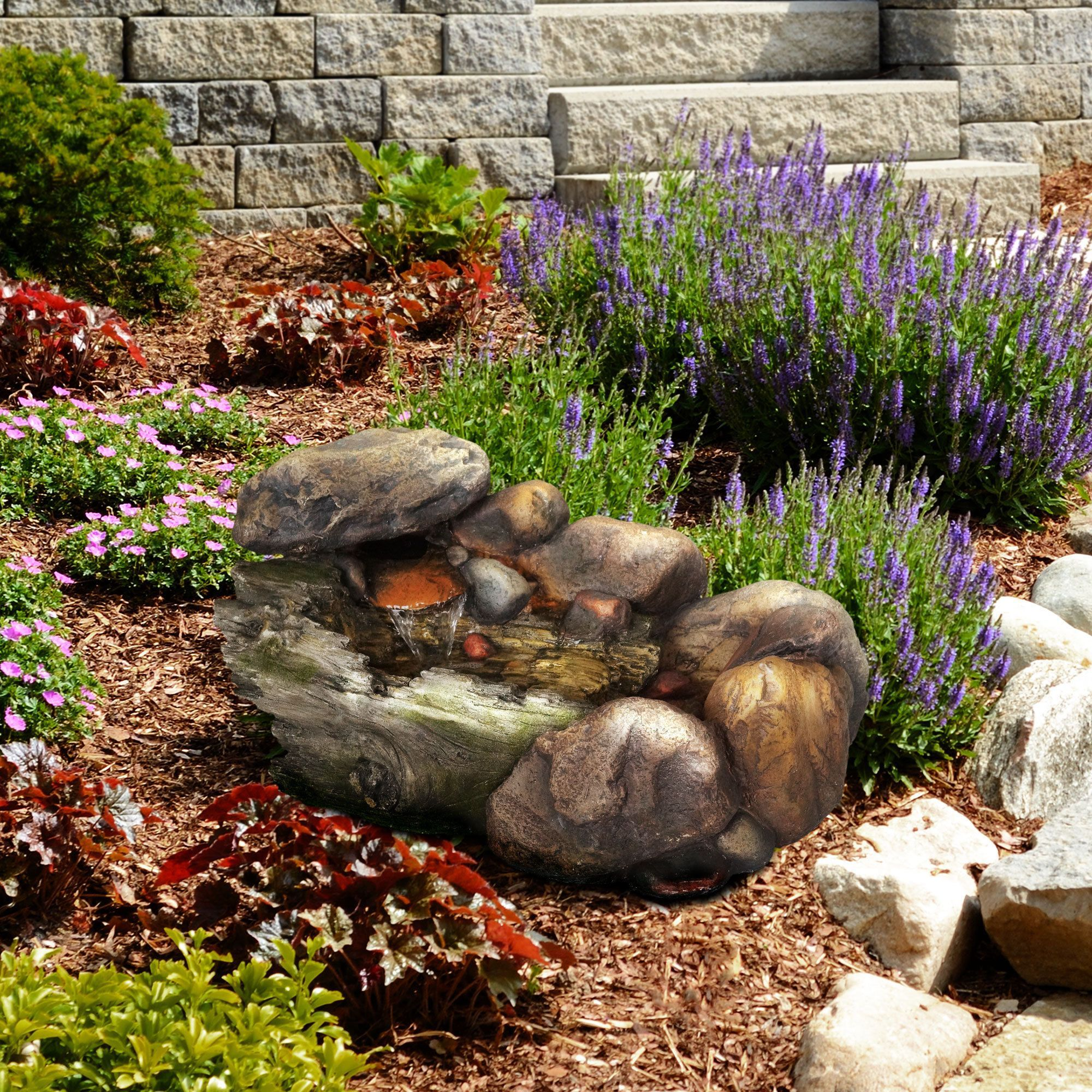 Pure Garden Cascading Stone Water Fountain