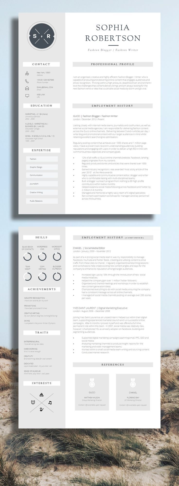 Professional Creative Resume Template For Ms Word  Modern Resume