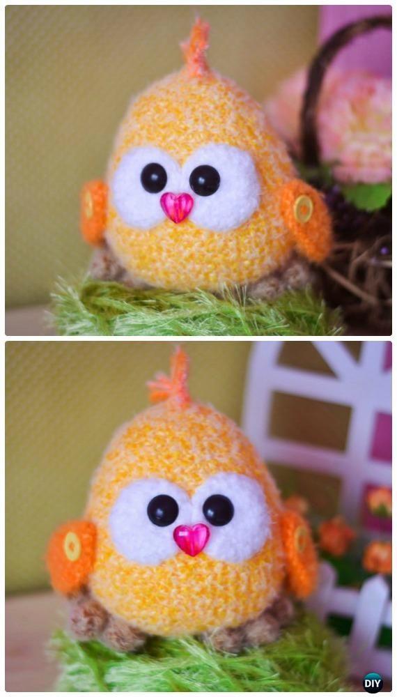 Ganchillo amigurumi polluelo del bebé del patrón libre - Patrones de ...