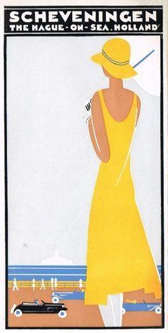 24x36 1938 Visit Scheveningen Holland Classic Vintage Style Travel Poster