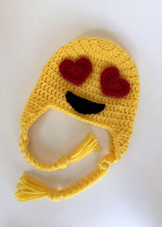 Crochet emoji hat -crochet hat kids - knit emoji hat - winter hat ...