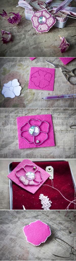 Мастер-класс: вышивка бисером кулона в виде простого цветка - Ярмарка Мастеров - ручная работа, handmade