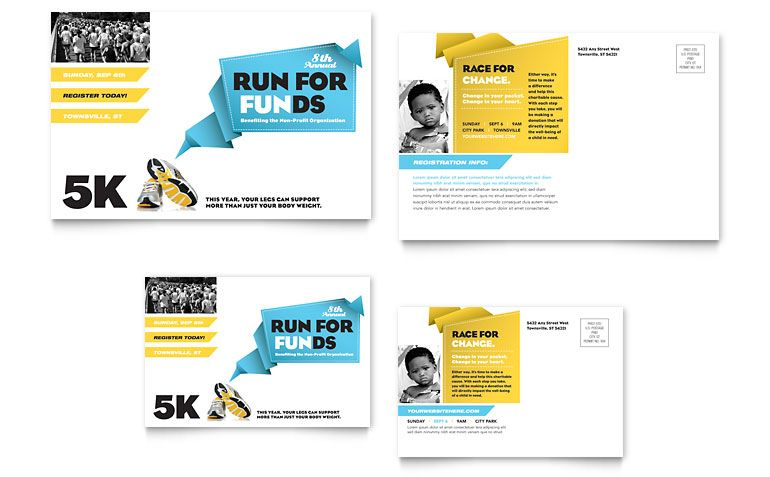Charity Run Postcard  Front And Back  Design