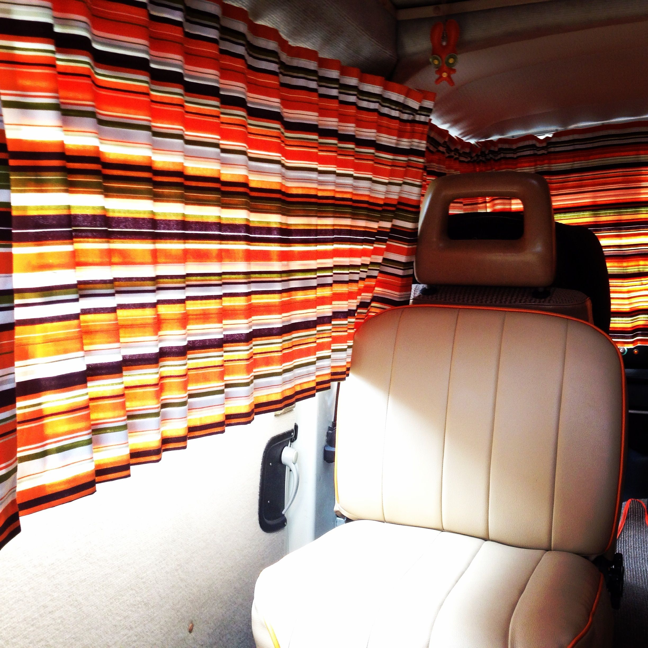 Retro camper curtains - Vw Campervan Curtains Orange And Brown Striped Fabric Terry S Fabric Right Lines In Caramel