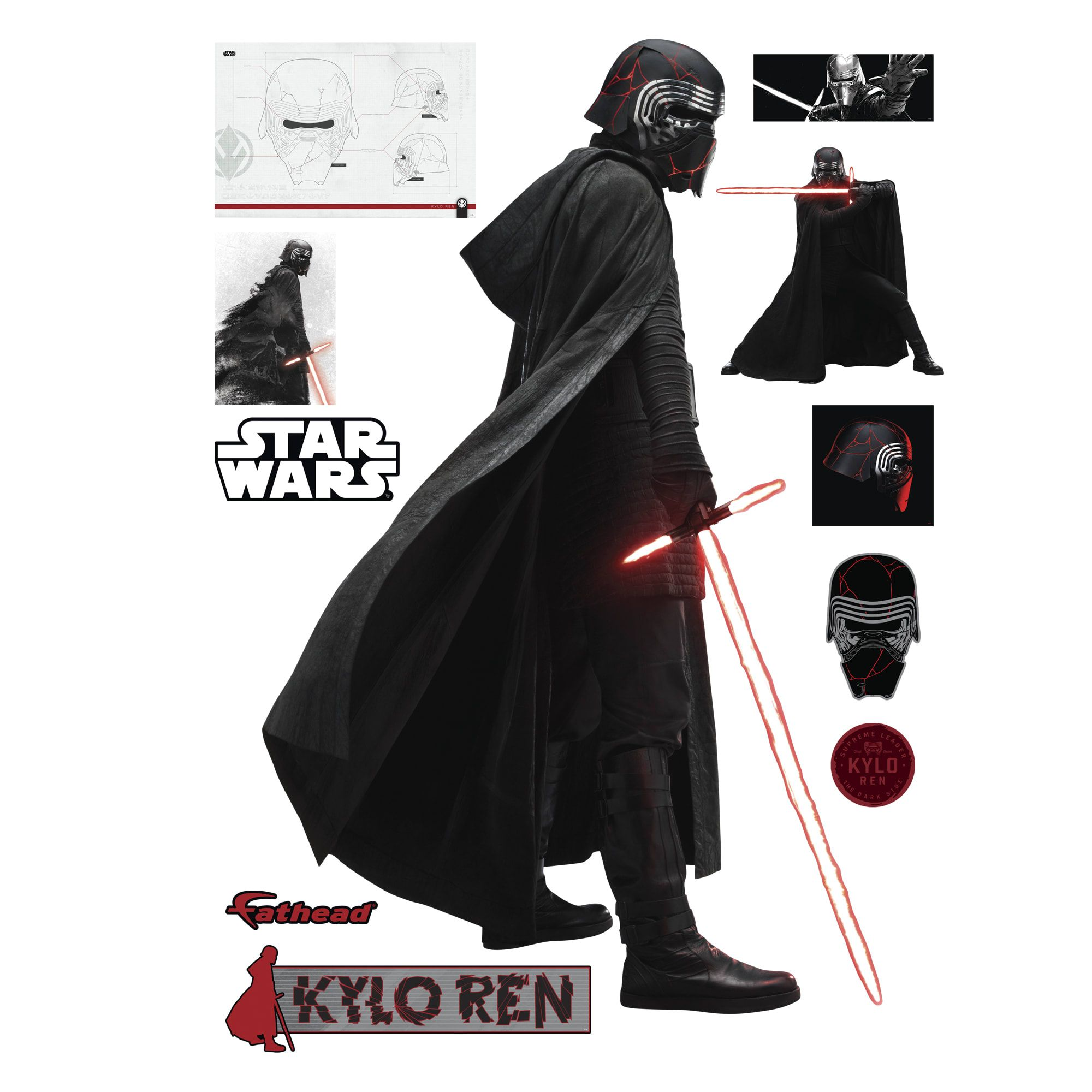 Kylo Ren Star Wars The Rise Of Skywalker Life Size Officially Licensed Removable Wall Decal Ren Star Wars Star Wars Kylo Ren Star Wars