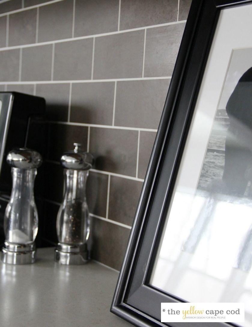Honeycomb Backsplash Dark Cabinets