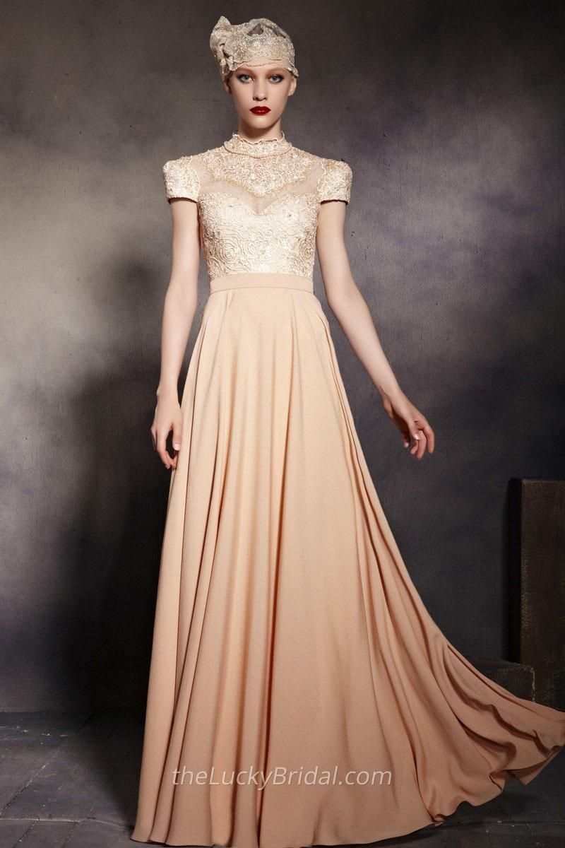High Neck Short Sleeve Long Champagne Lace Chiffon Evening Dress ...