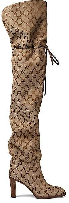 99a2ef6db6d Gucci Women s Lisa Canvas Over-The-Knee Boots