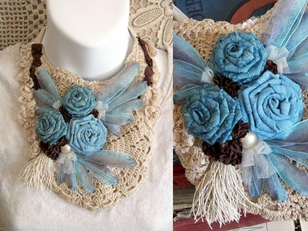 Fabric Flower Statement Necklace  TAKE FLIGHT por CindyCaraway, $75,00
