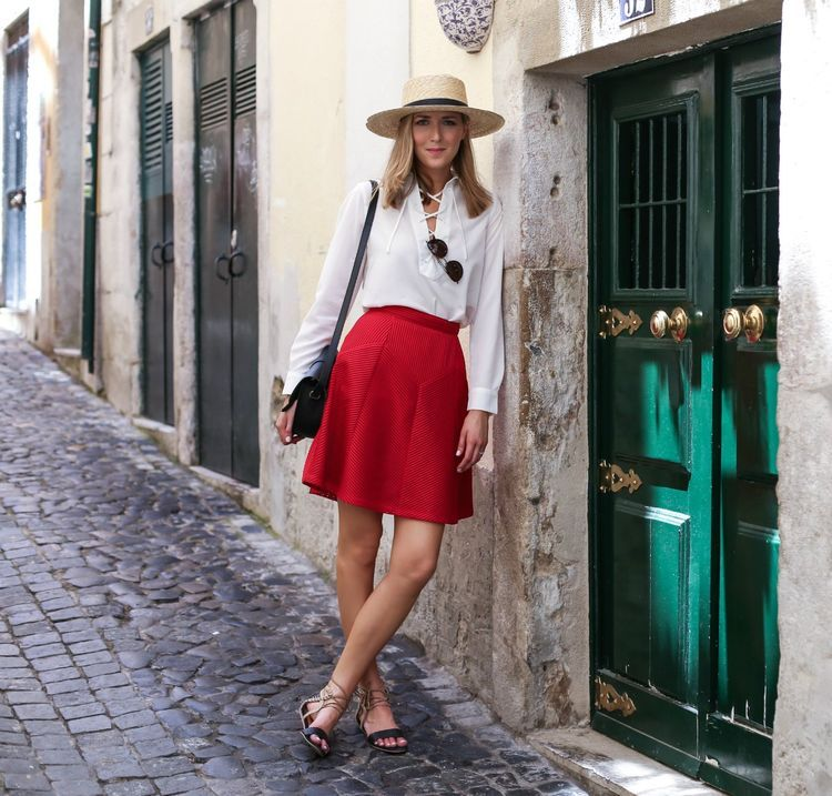Red Flare Skirt and Lace Up Blouse in Lisbon