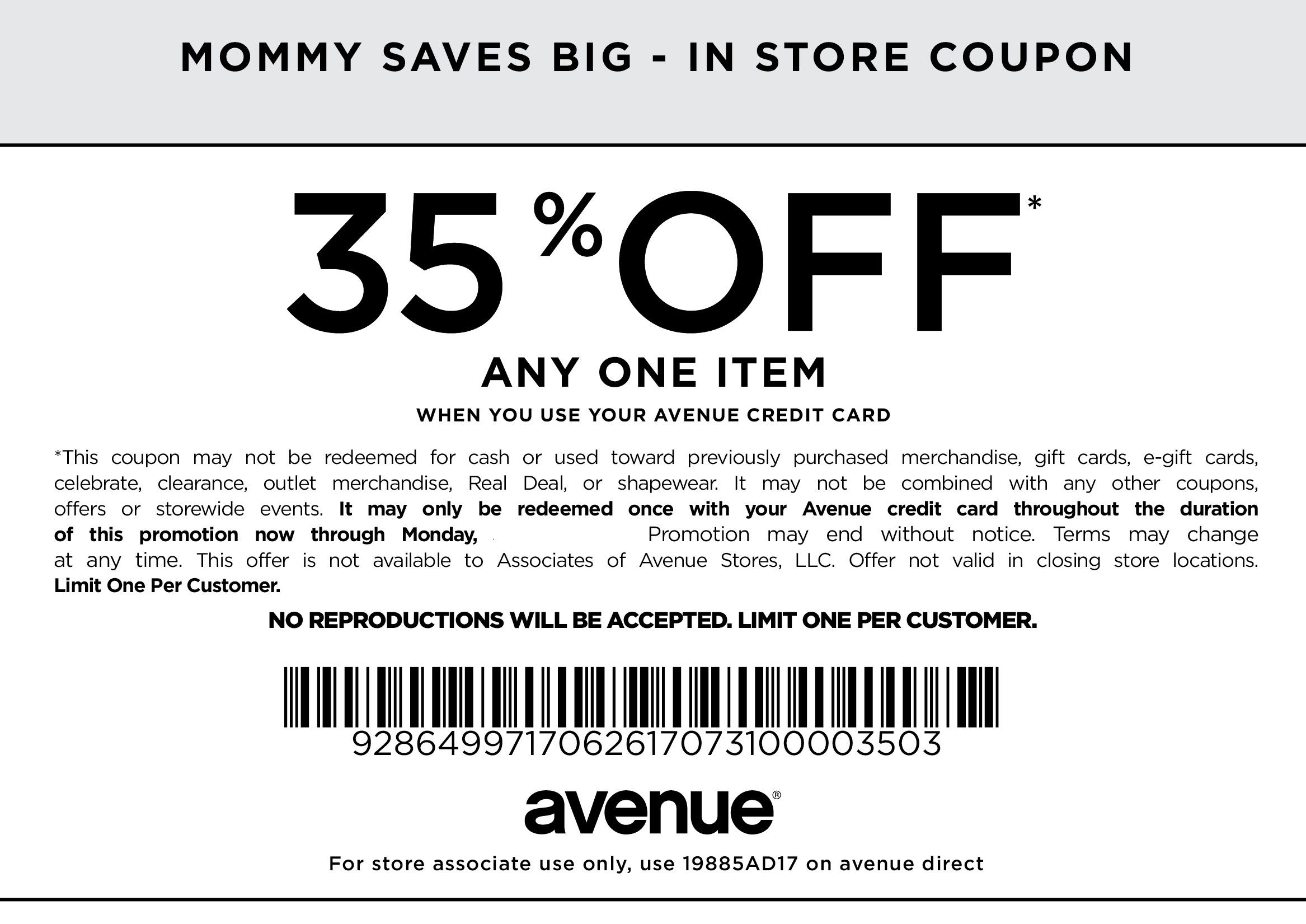 35 Off Any One Item Clothing Coupons Coupons Store Coupons