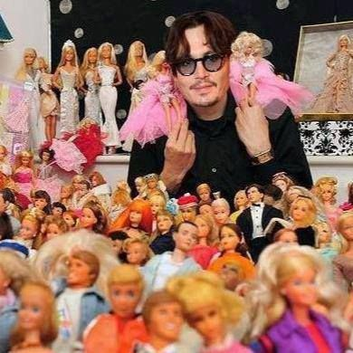 Image result for Johnny depp has a barbie collection