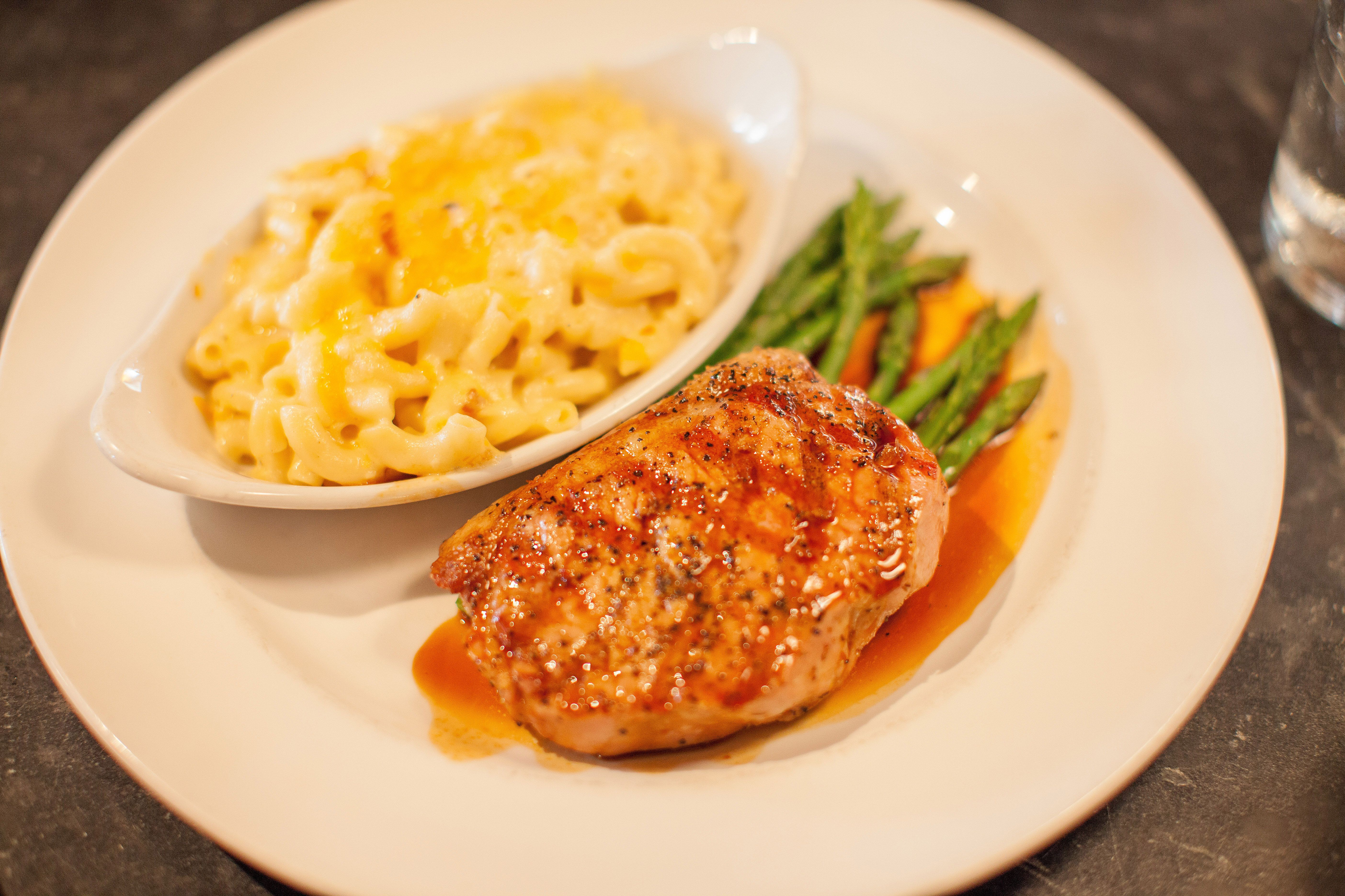 dinner menu glazed chicken w mac cheese at south city kitchen