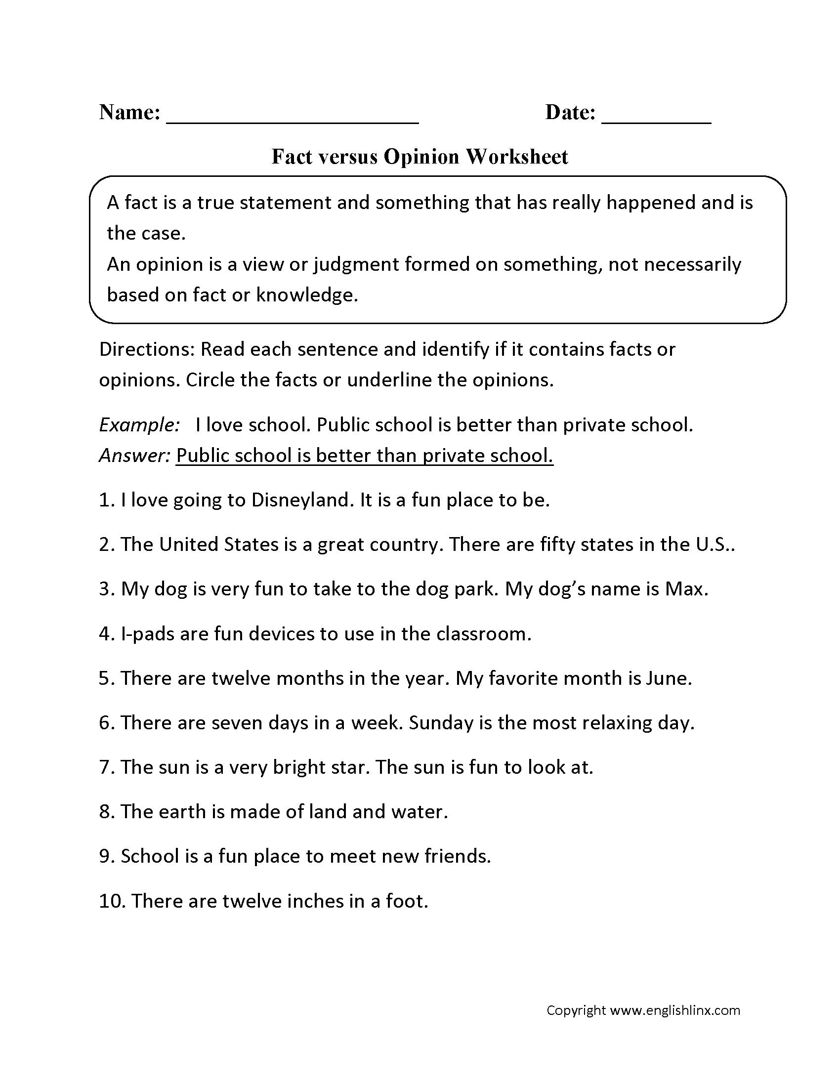 Fact opinion 3rd grade
