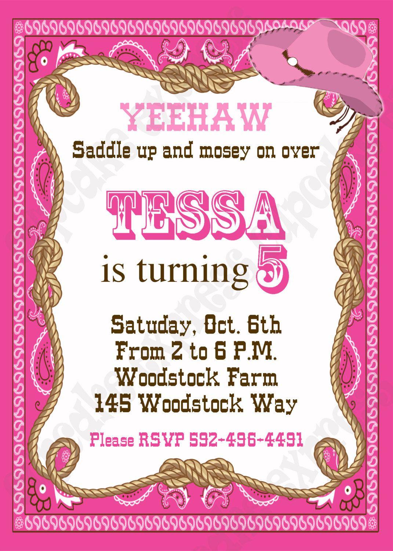 cowgirl party invitations free printables skylanders birthday card ...