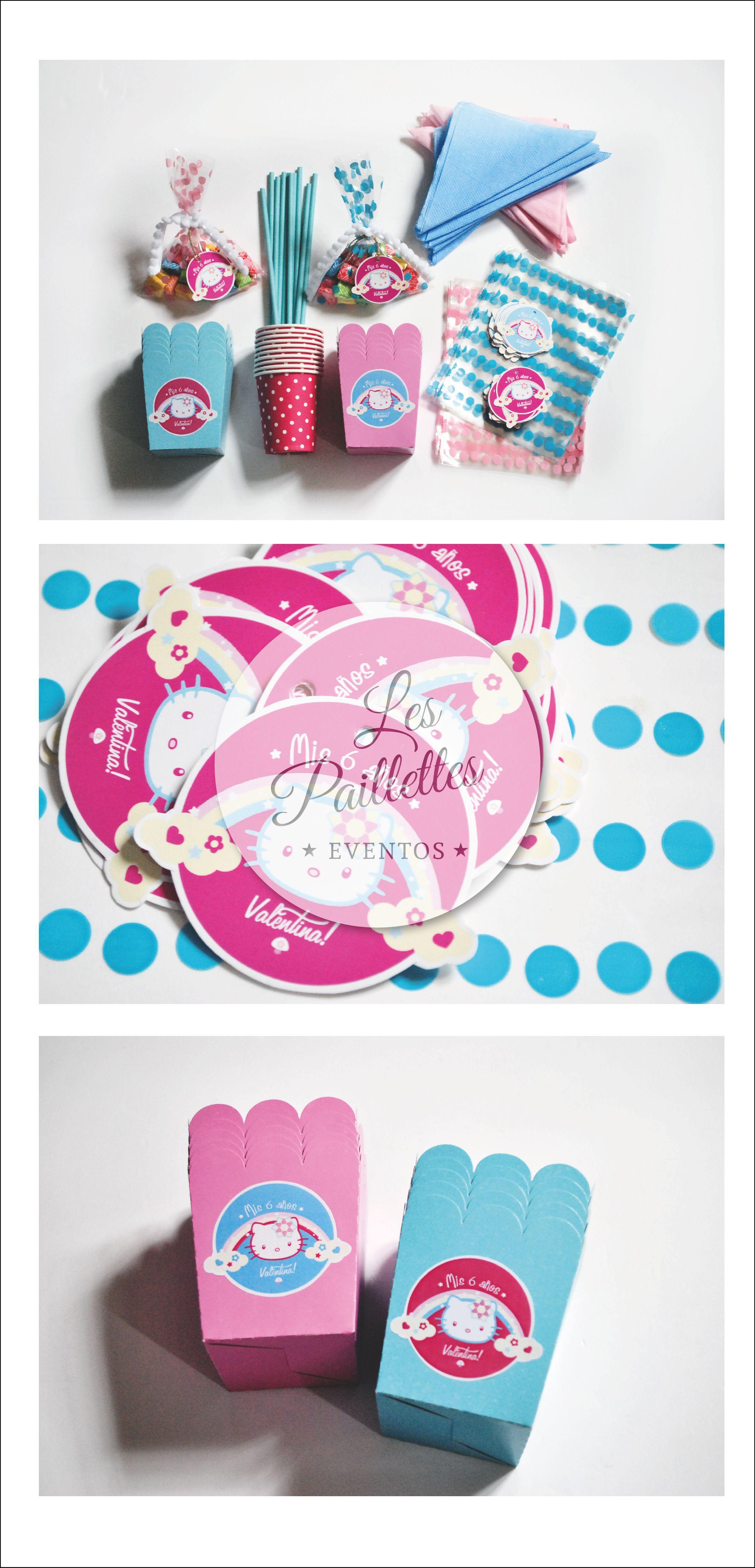 Kit Cumpleaños Hello Kitty. #partysupplies #insumos #vasos #sorbetes #pochocleras #bolsitas #golosinas #candybar #kitty #rosa #celeste