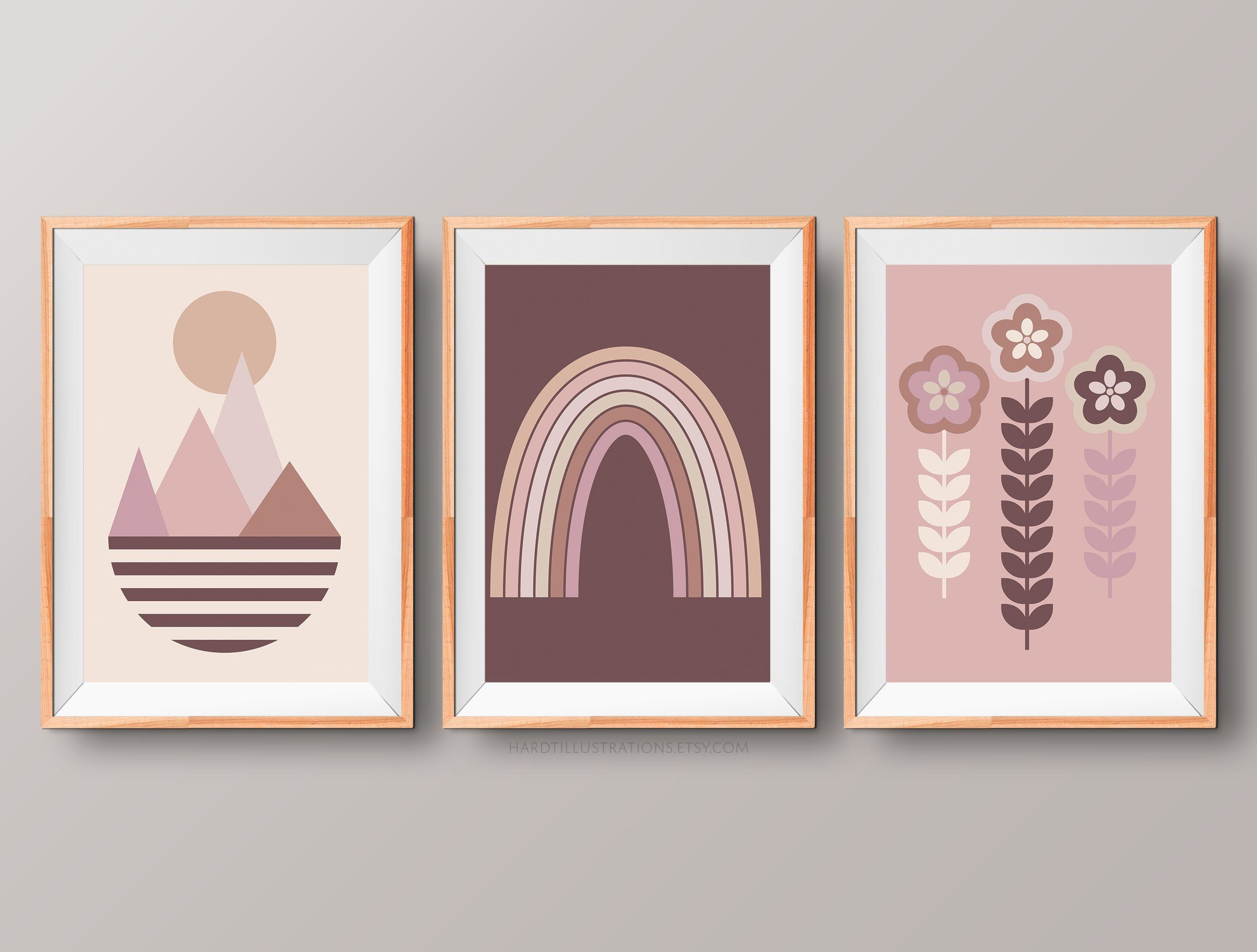 Mid century modern geometric art prints set of 3 printable wall art cute abstract