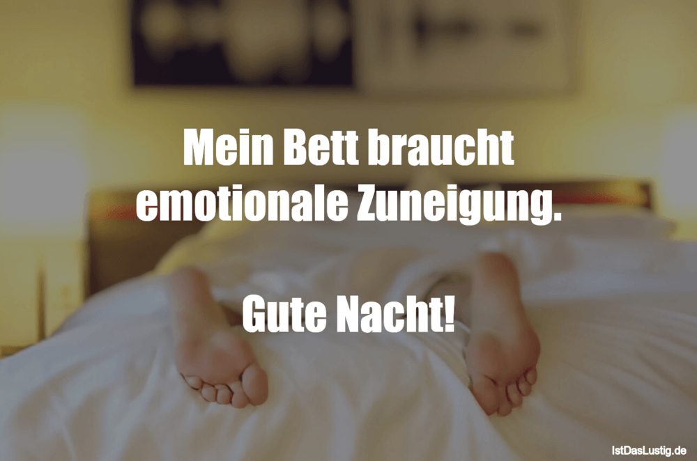 mein bett braucht emotionale zuneigung gute nacht. Black Bedroom Furniture Sets. Home Design Ideas