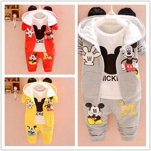 3PCS Niños Bebé Niños Niñas Sets de ropa Mickey Mouse Mangas largas Ropa  para otoño in Ropa f65eb230215