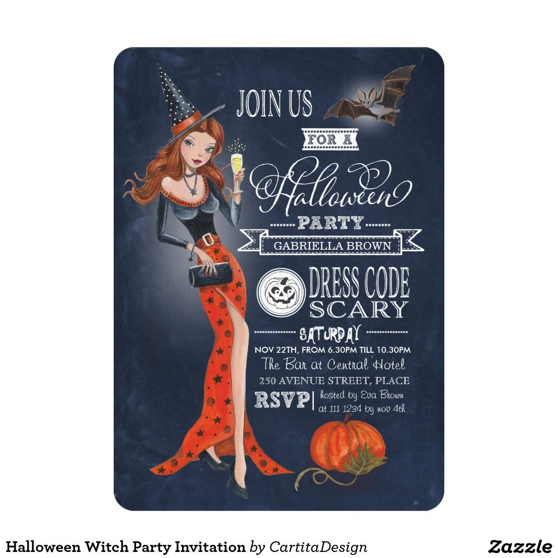 Halloween Witch Party Invitation | Witch party, Party invitations ...