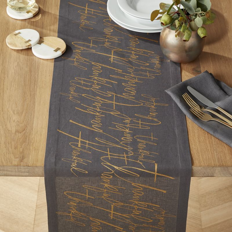 Shop Thankful 90 Graphite Linen Table Runner Our Grey Linen Table Runner Showers Its Grateful Linen Table Runner Thanksgiving Table Decorations Table Runners