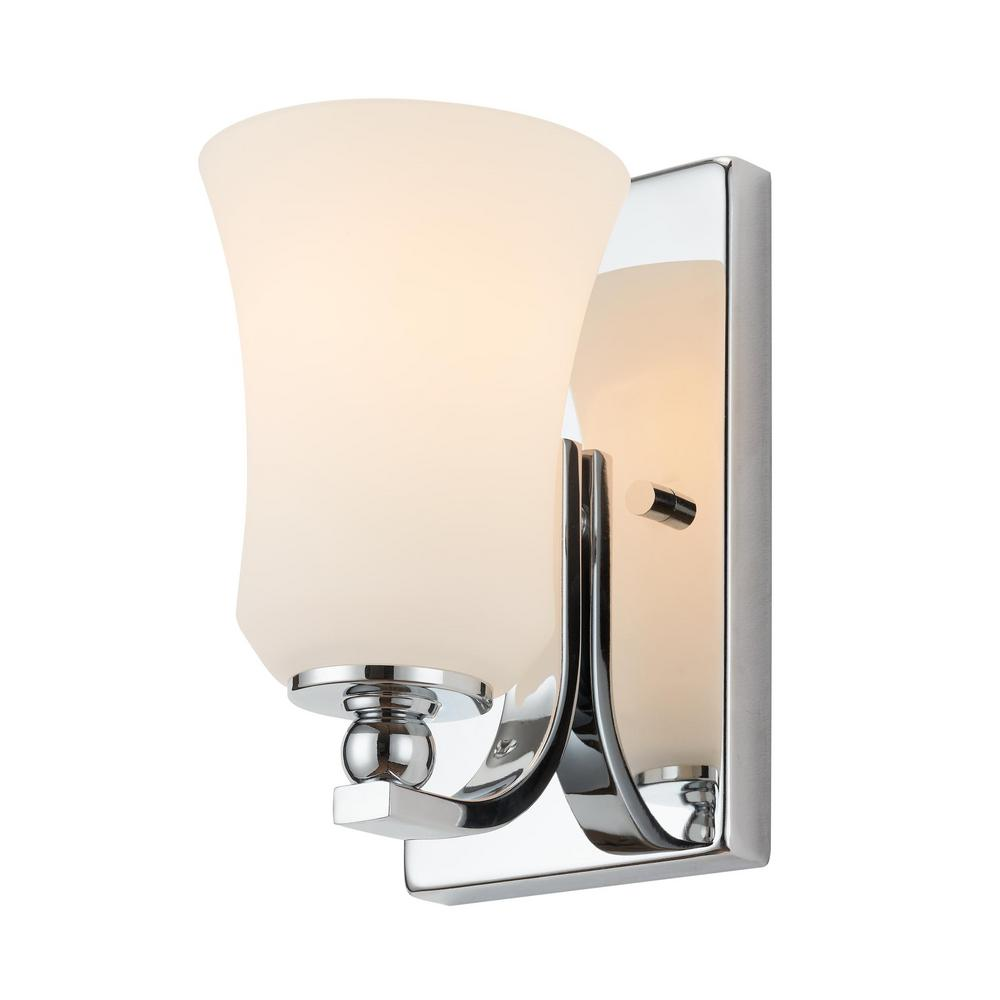 Home Decorators Collection 1 Light Chrome Square Bath Vanity Light With Etched White Glass 15331 The Home Depot Bath Vanity Lighting Square Bath Vanity Lighting