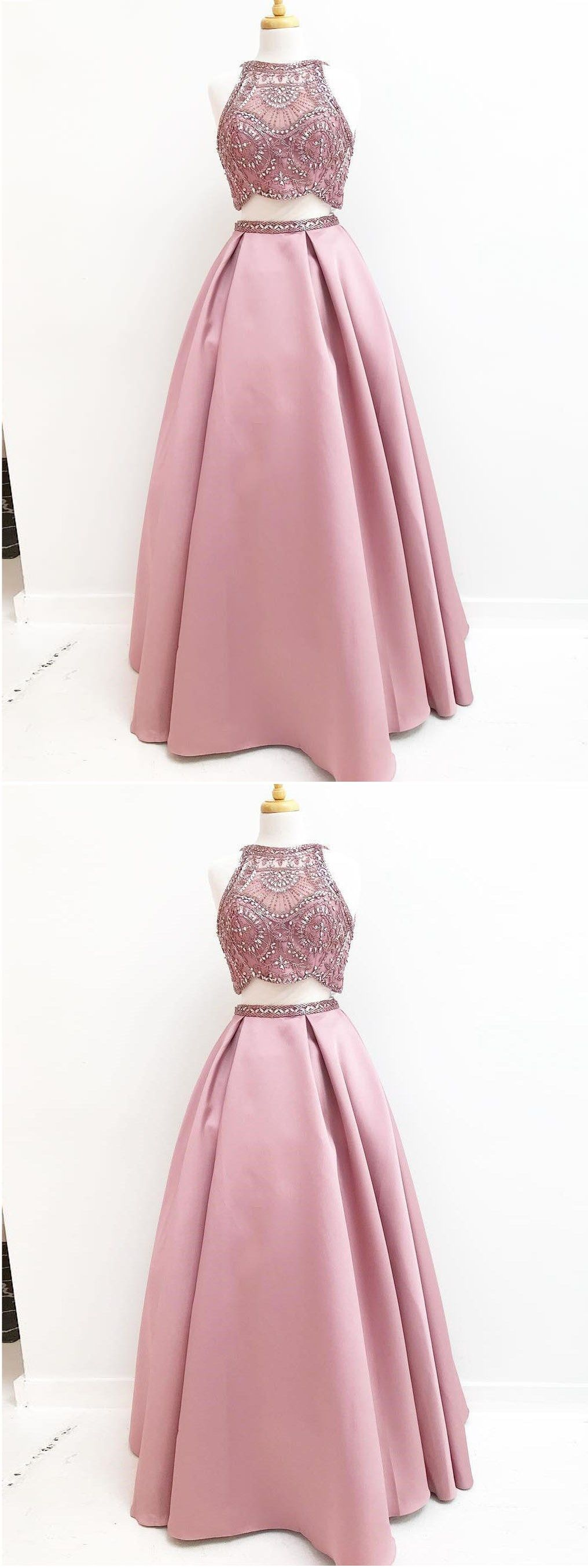 Two piece prom dresses scoop aline sparkly satin long beading prom