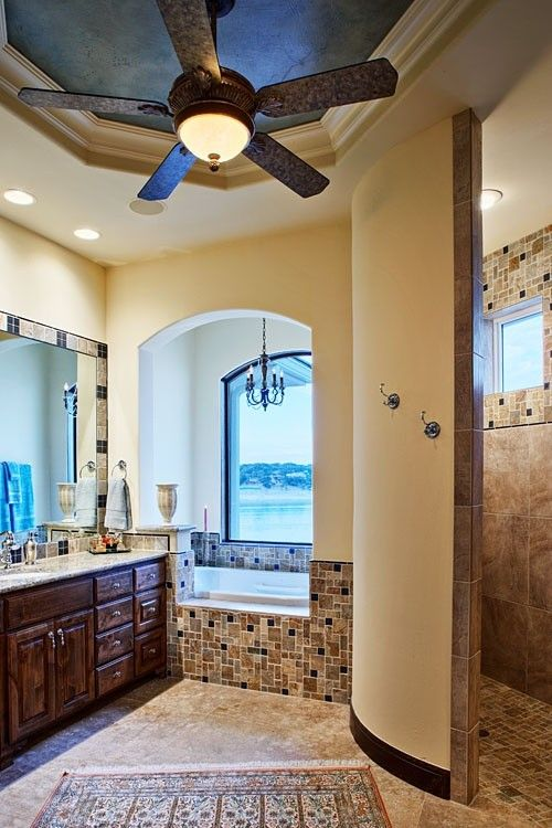 Love The Trey Ceiling Painted A Contrasting Color Ceiling Fan In