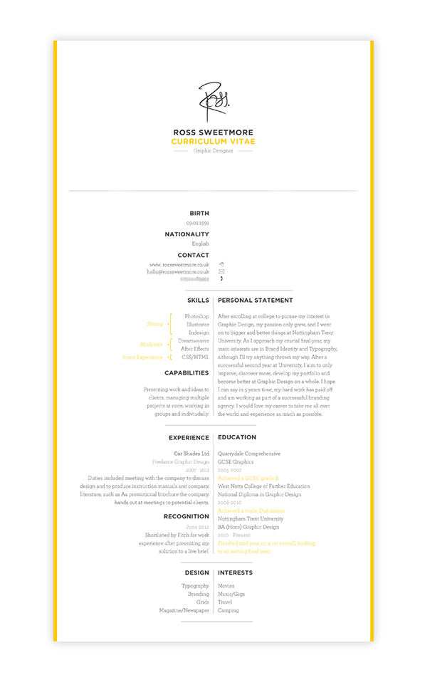 Love this graphic CV. Self Promotion by Ross Sweetmore