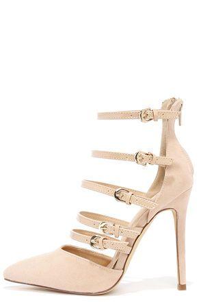 902367eeff07 Sexy Nude Heels - Vegan Suede Heels - Pointed Toe Heels -  34.00 ...