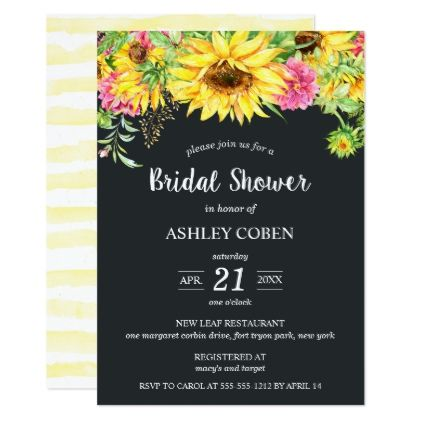 Bridal Shower Invitation With Cascading Sunflowers
