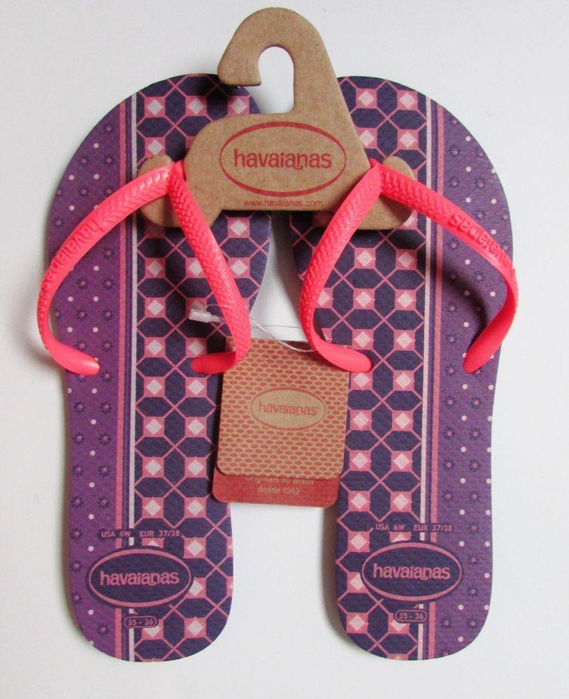 24cc5c922 HAVAIANAS Short Strap Purple Geometric Print Flip-flops NWT Sz 6 ,7  #Havaianas #FlipFlops #Casual
