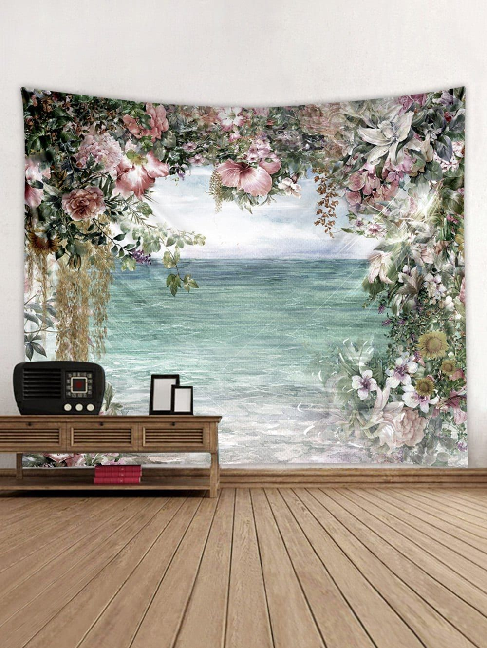Dresslily Com Photo Gallery Flower And Sea Print Tapestry Wall
