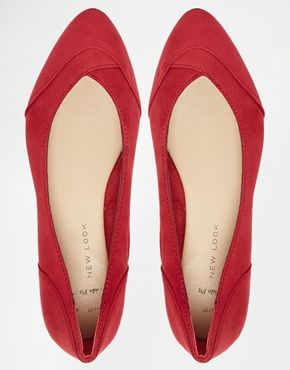 789a47a3a8e0 Enlarge New Look Wide Fit Jagged Red Flat Ballerina Shoes