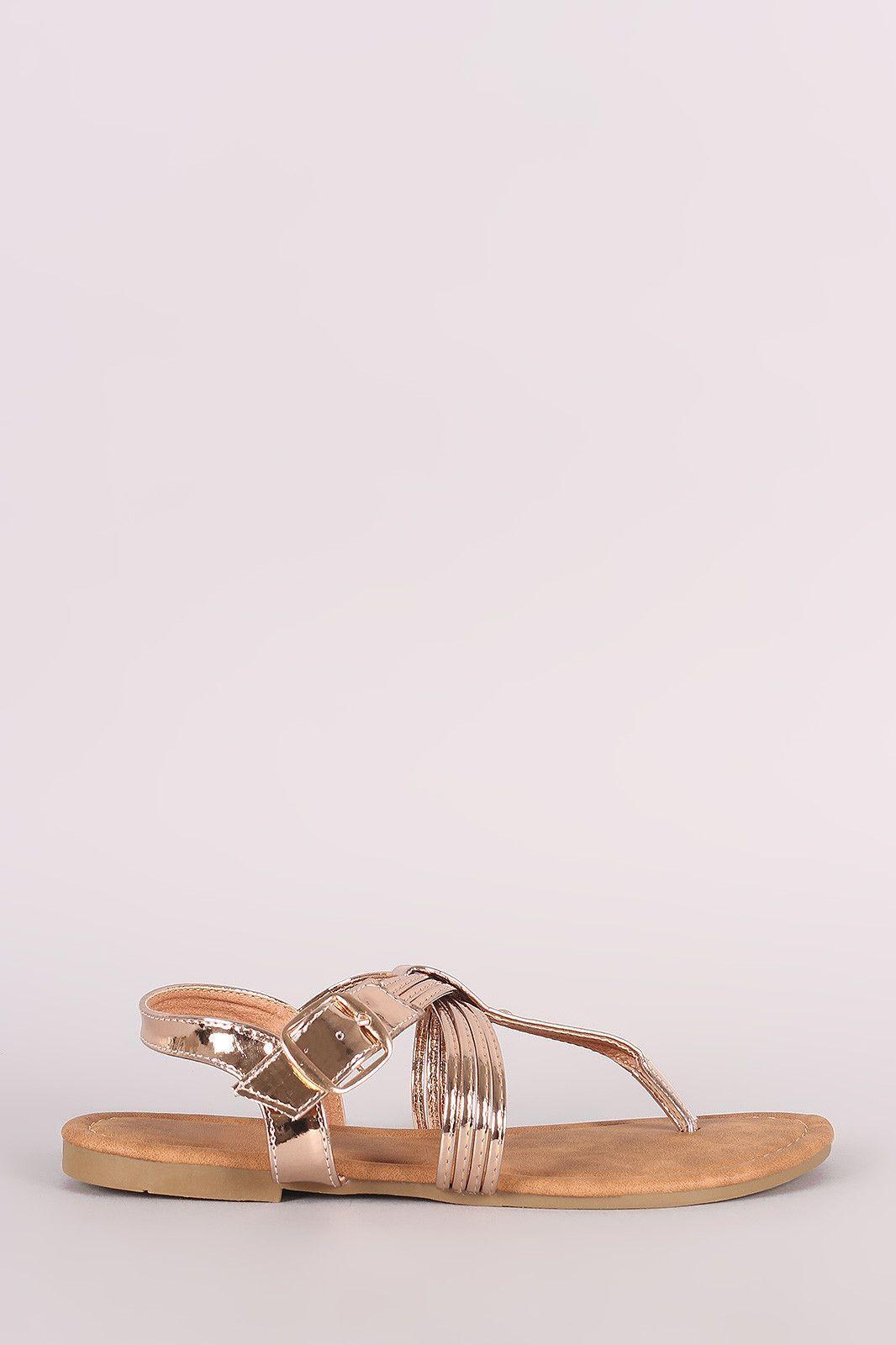 4197cdc84adf Metallic Strappy Crisscross Slingback Thong Flat Sandal