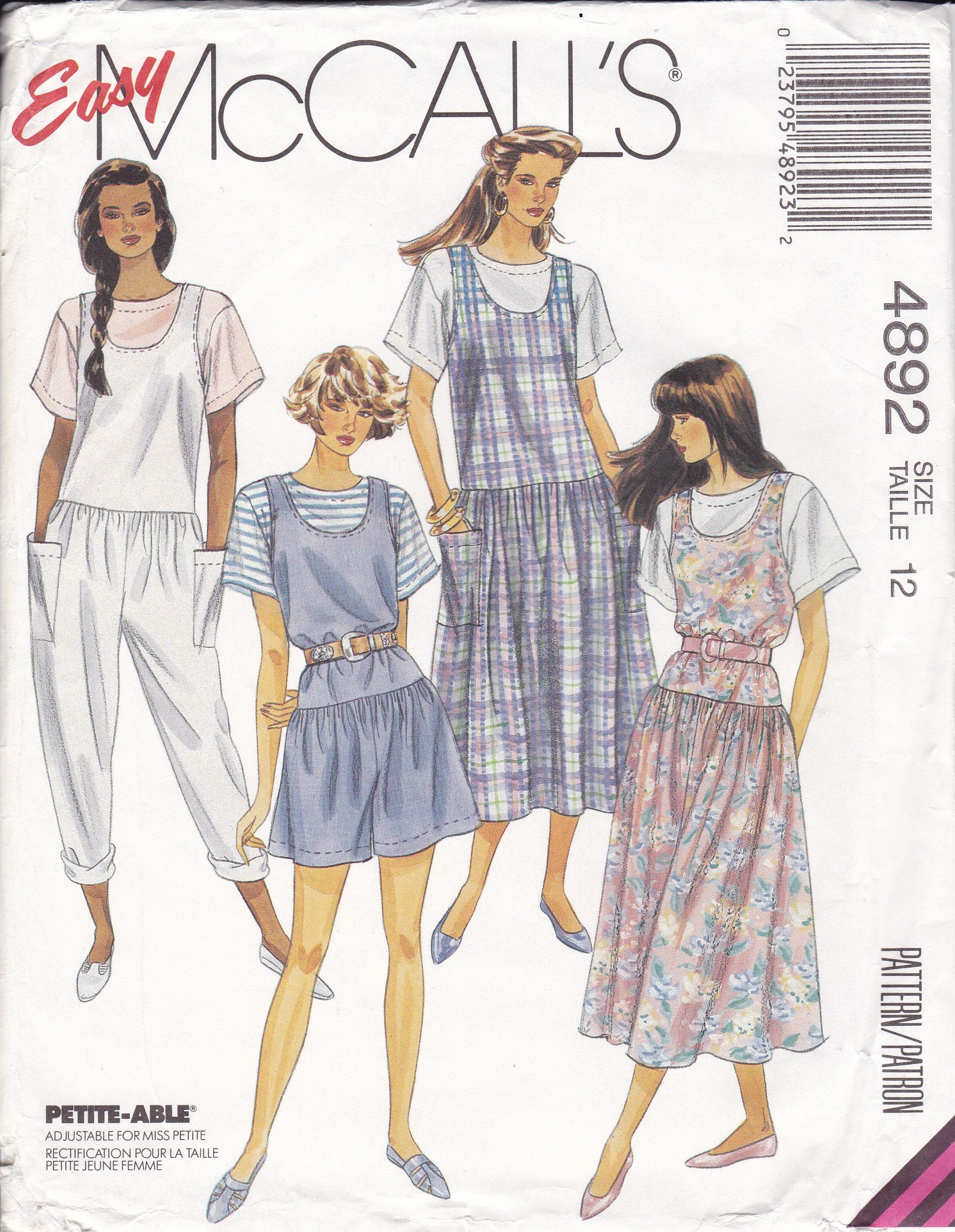 Sewing Pattern Mccalls 4892 Retro 1990s 90 S Loose Etsy Pajama Pattern Mccalls Sewing Patterns Vintage Sewing Patterns