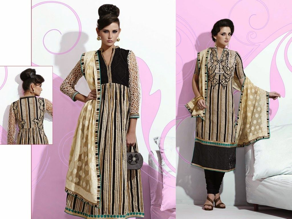 Designer cotton suits online with zari and resham work and contrast