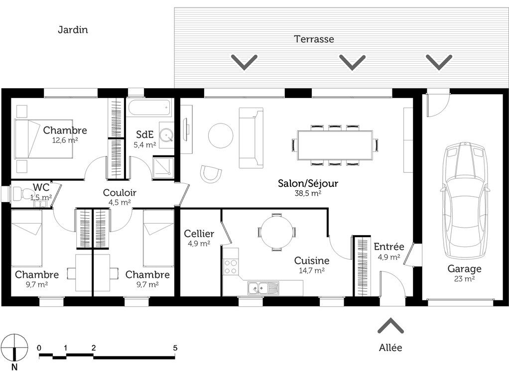 Plan maison rectangulaire house plan in 2018 Pinterest House