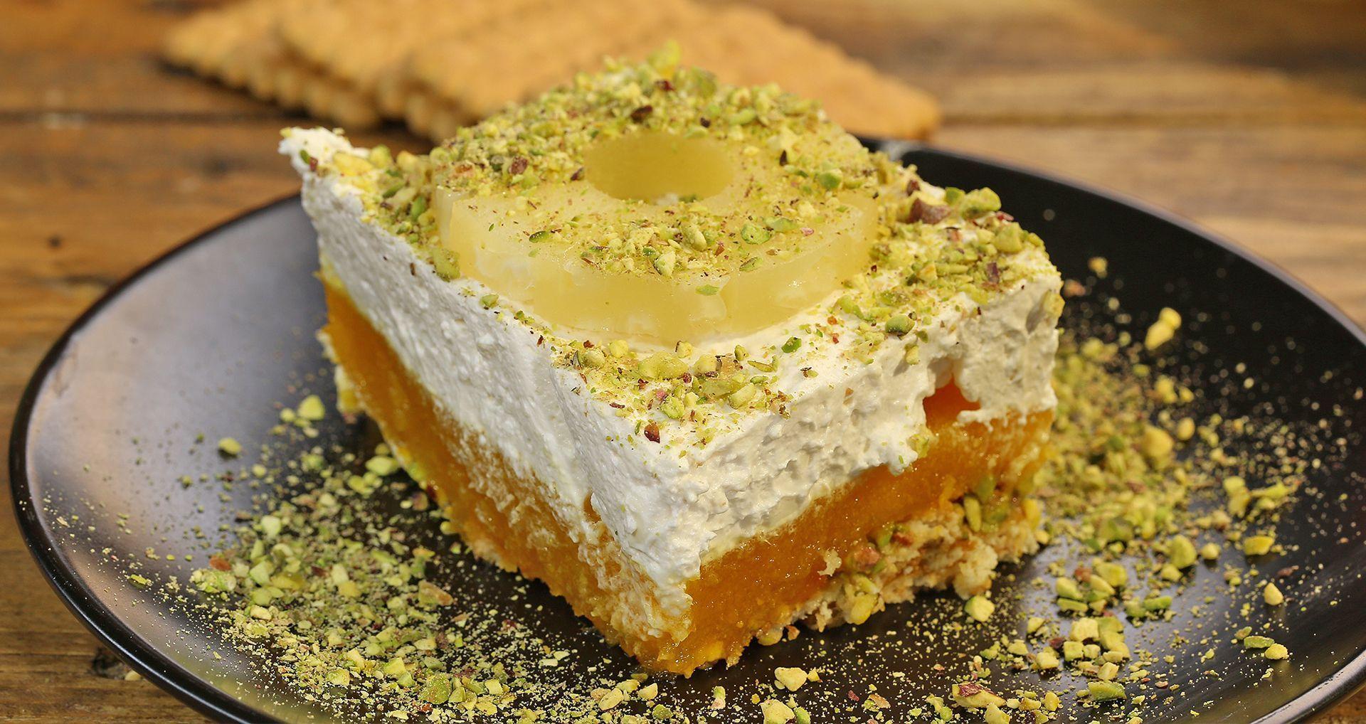 طريقة عمل حلى الاناناس البارد Recipe Baking Food Desserts