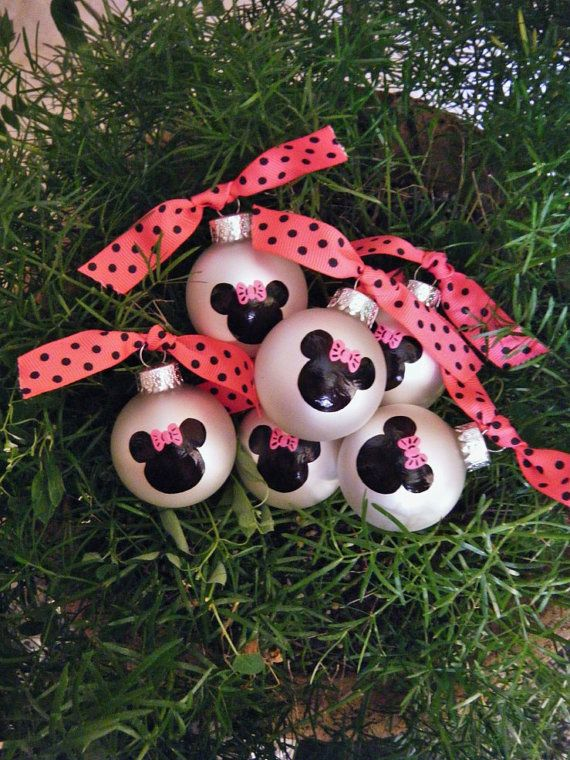 minnie mouse party favor ornaments ten by brushstrokeornaments mickey mouse christmas tree disney christmas ornaments