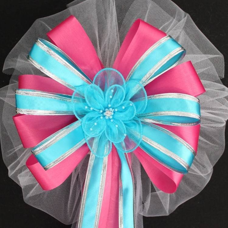 Hot Pink And Turquoise Ribbon Rose Wedding Pew Bows