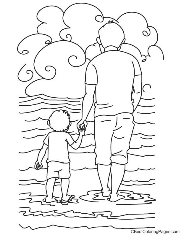 Holding Fathers Hand Coloring Page Coloring Pages Hand Coloring
