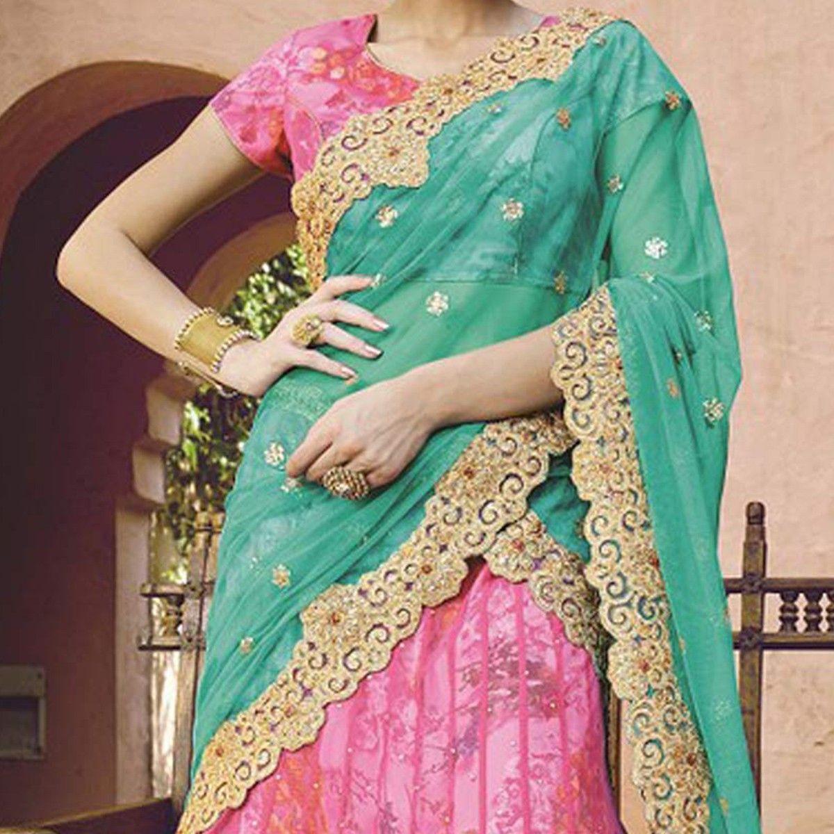 Buy Pink Wedding Lehenga - Online Women Ethnic Wear at Peachmoe.com ...