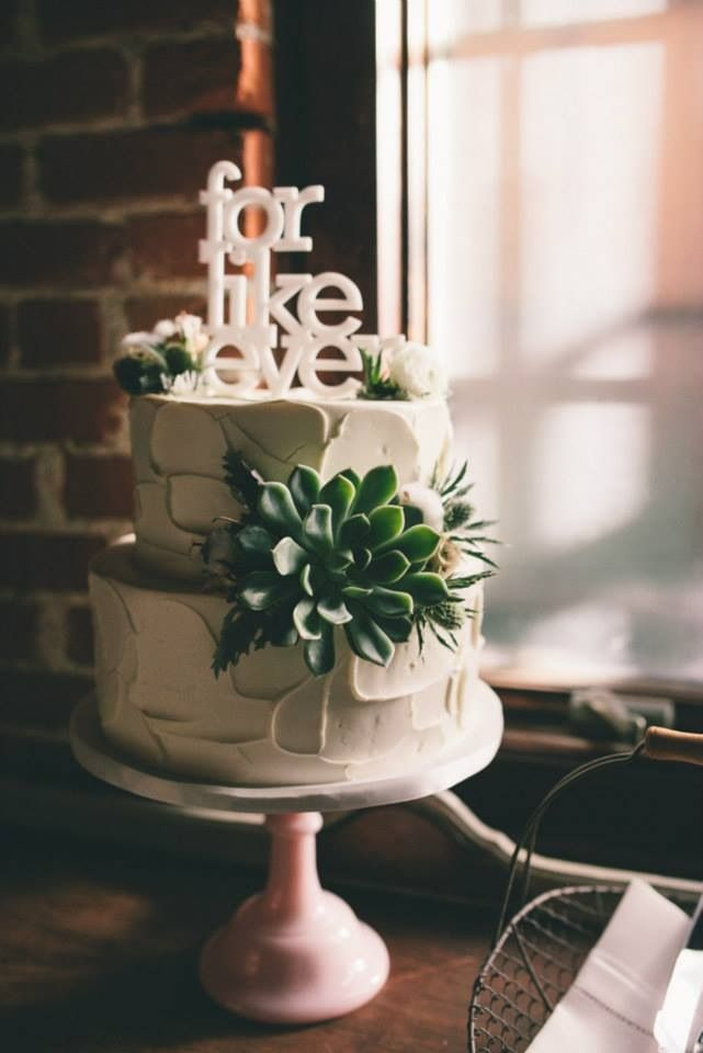 For Like Ever Wedding Cake Topper And Succulents With A Pink Milk Glass Stand