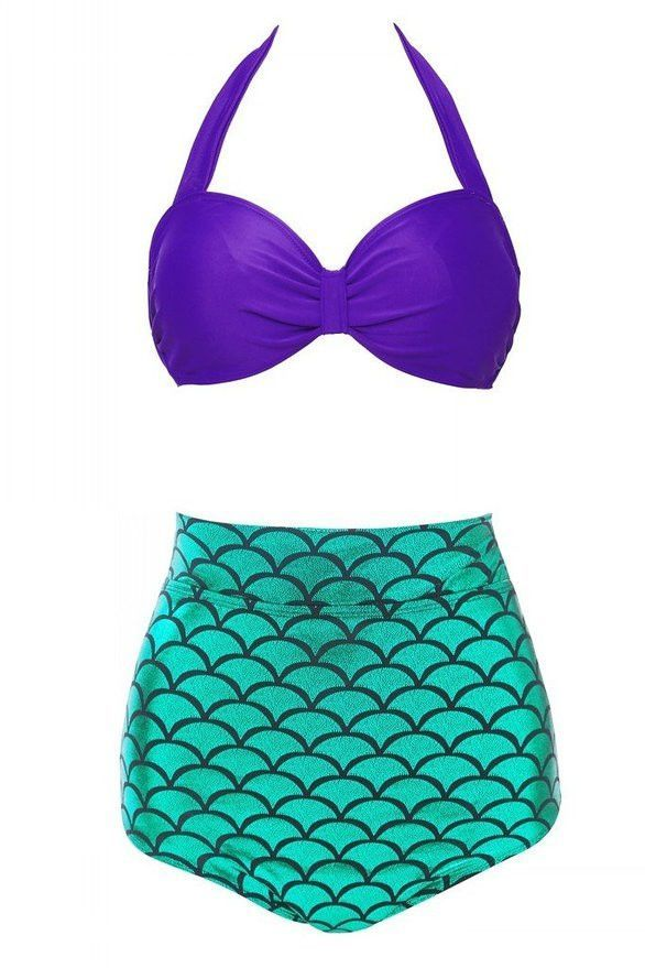 88c8a9555fd Amp up your swim style with our super sexy purple and green high waist mermaid  bikini. Choose from three halter styled tops. One offers a unique mermaid  ...
