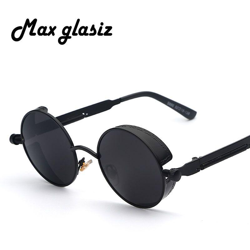 b438aeea43 Maxglasiz estrenar 2016 Espejo Lente Gafas Redondas Gafas Steampunk gafas  de Sol de La Vendimia Retro